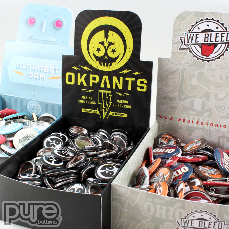 Custom Button Boxes for OKPants Design, Alphabet Arm, and We Bleed Ohio