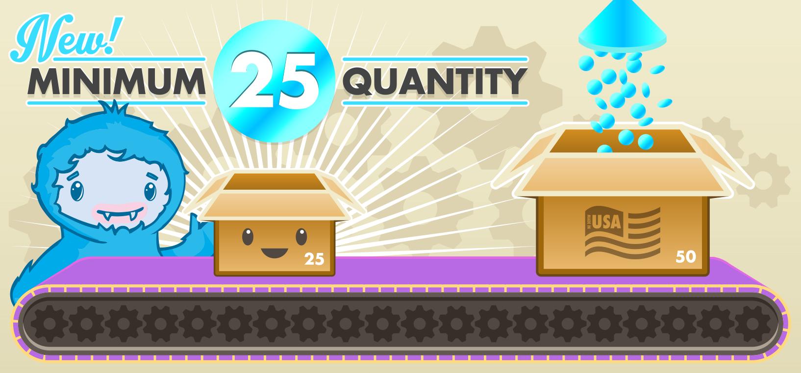 25 minimum quantity custom buttons