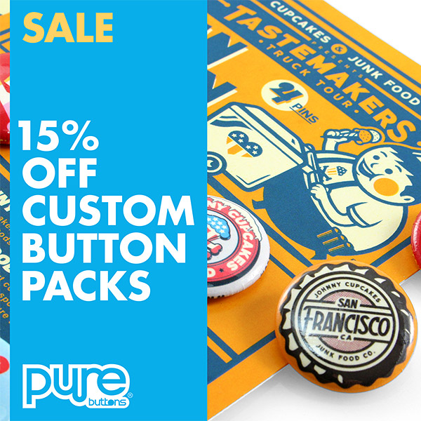 15% OFF Custom Button Packs