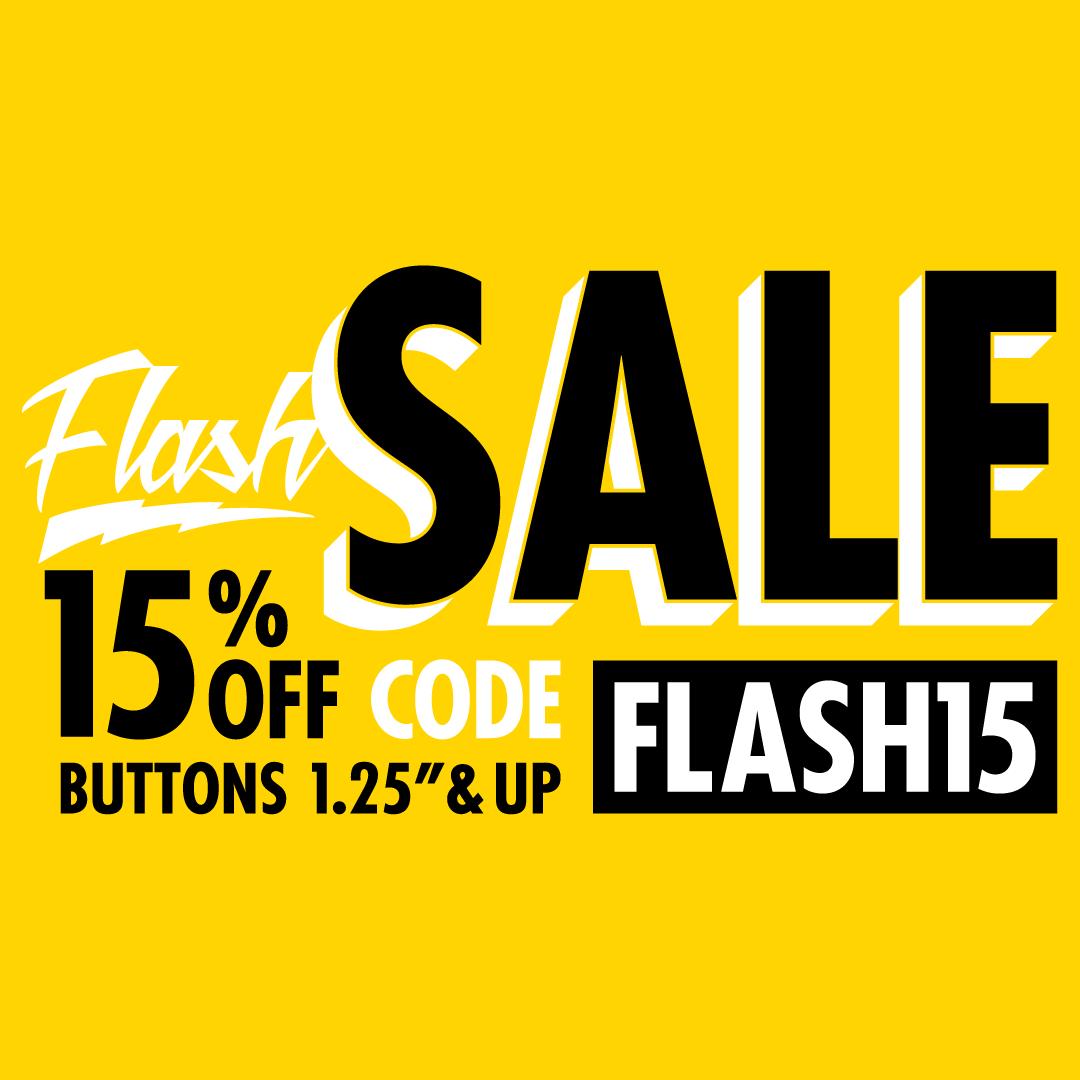 15% OFF Custom Buttons