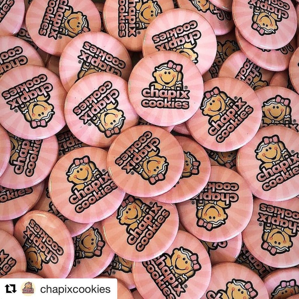 Custom Buttons, Made in USA for Chapix Cookies of Mexico!
