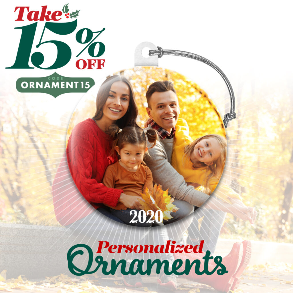 15% off Personalized Ornaments with coupon ORNAMENT15