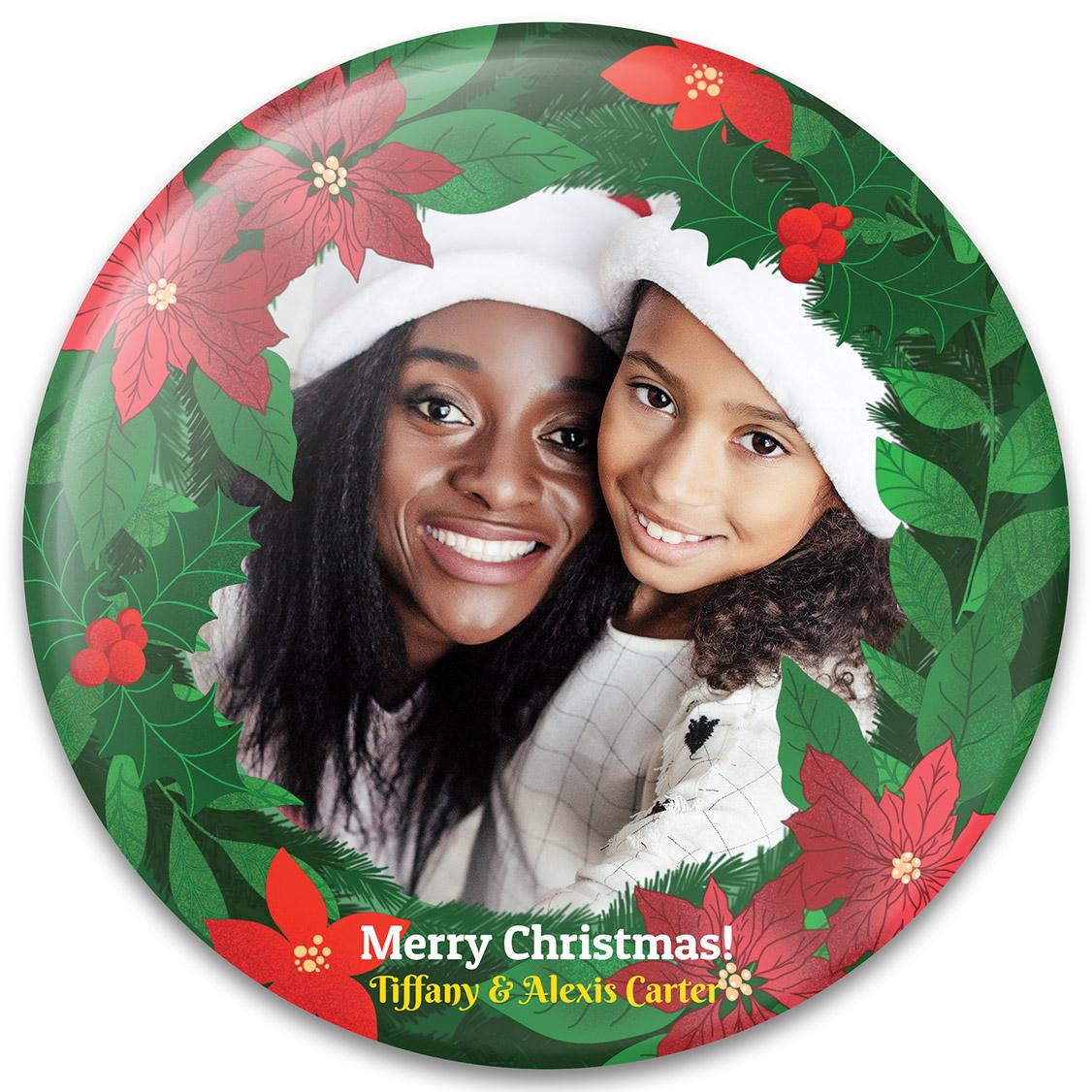 Poinsettia Wreath Christmas Photo Gift