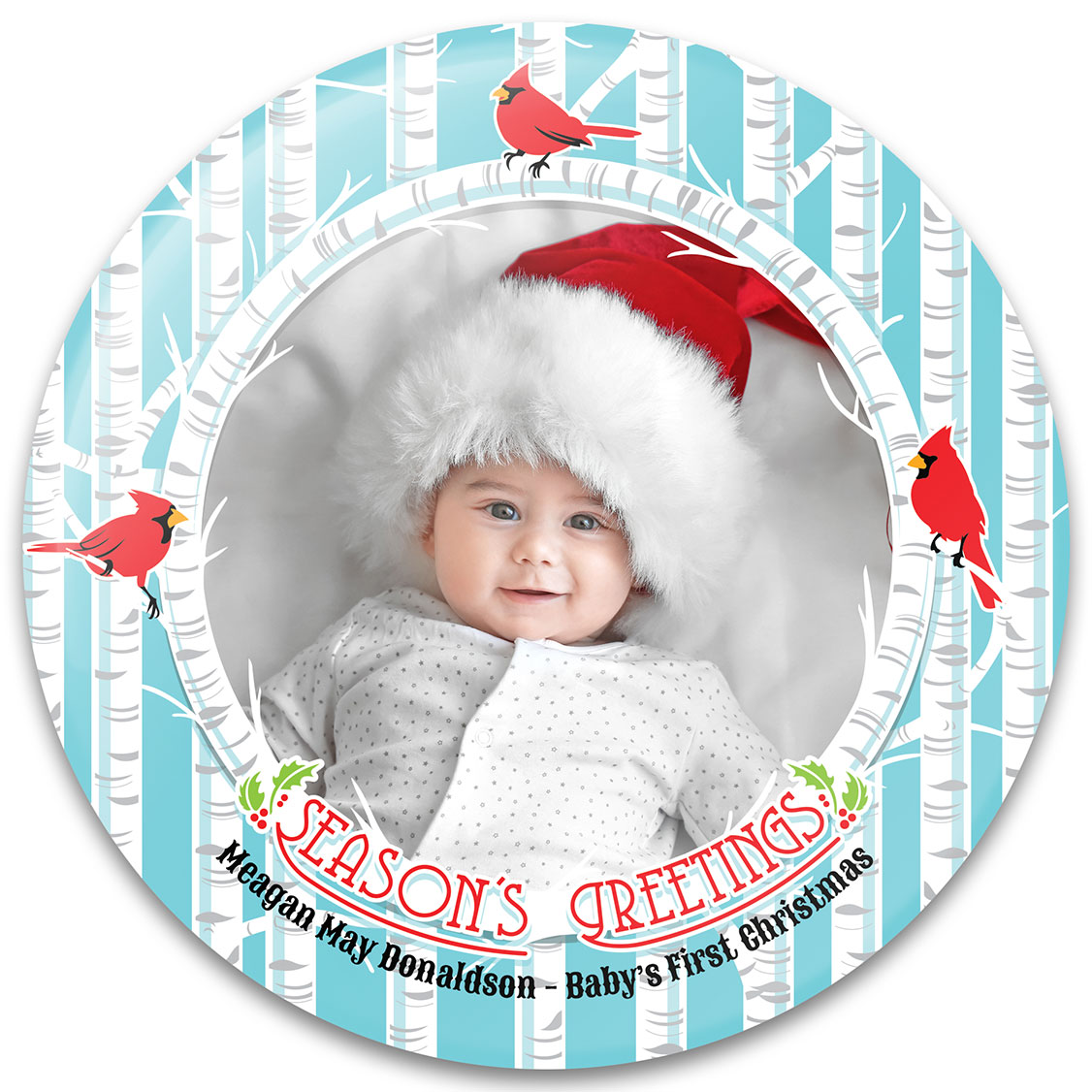 Cardinals & Birch Trees Baby's First Christmas Ornament Design