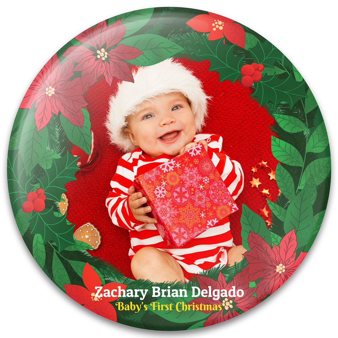 Poinsettia Wreath Baby's First Christmas Ornament Design