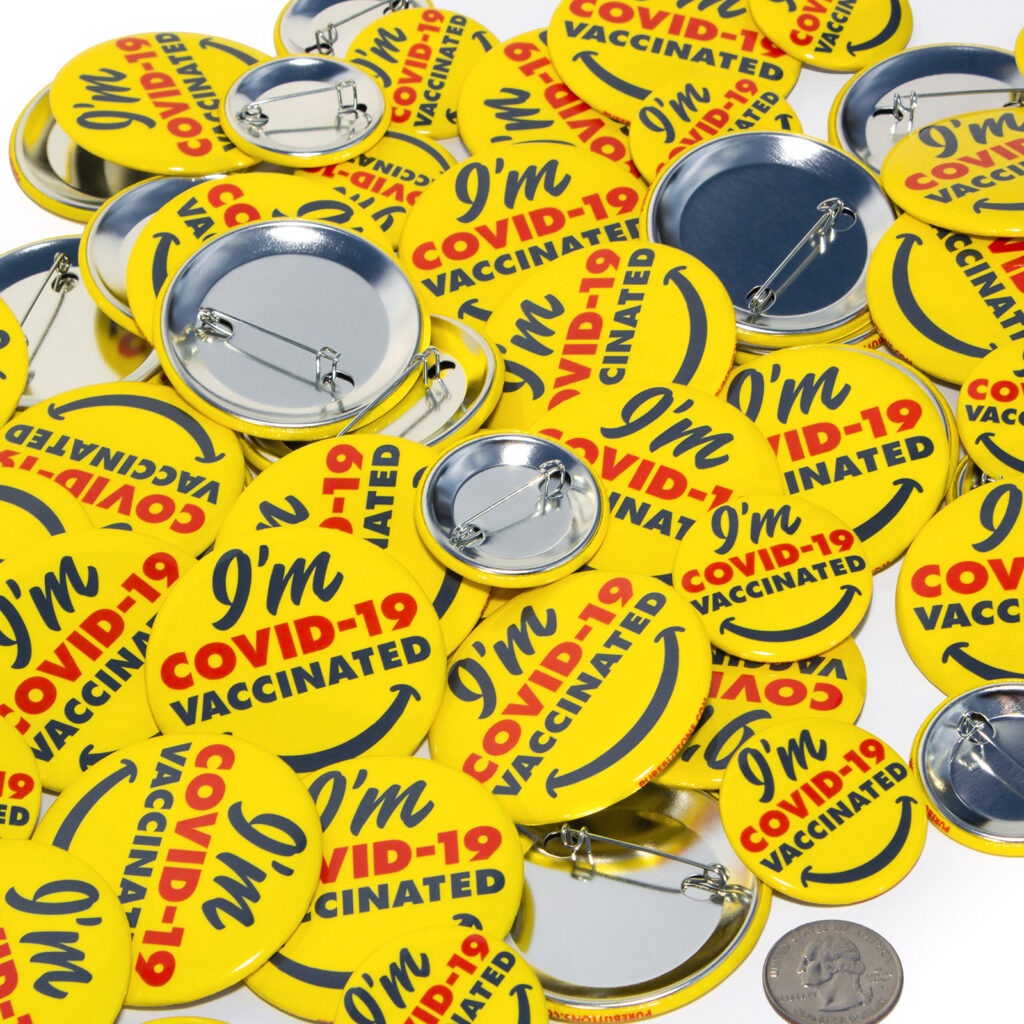 I'm COVID-19 Vaccinated Smiley Buttons