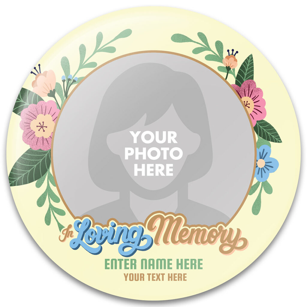 In Loving Memory Memorial Buttons Template
