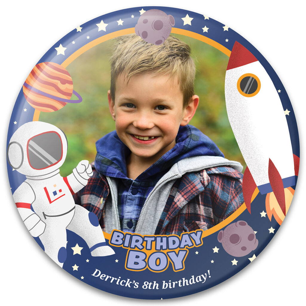 Birthday Boy Astronaut - Birthday Button Template