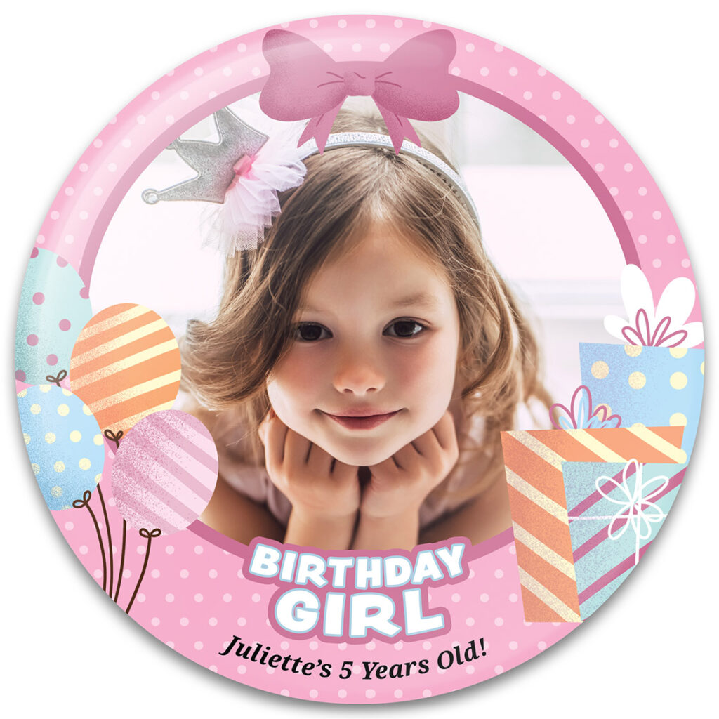 Birthday Girl Presents - Birthday Button Template