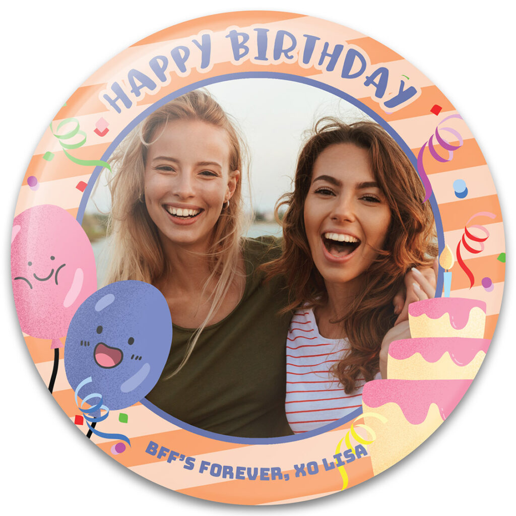 Happy Balloons - Birthday Button Template