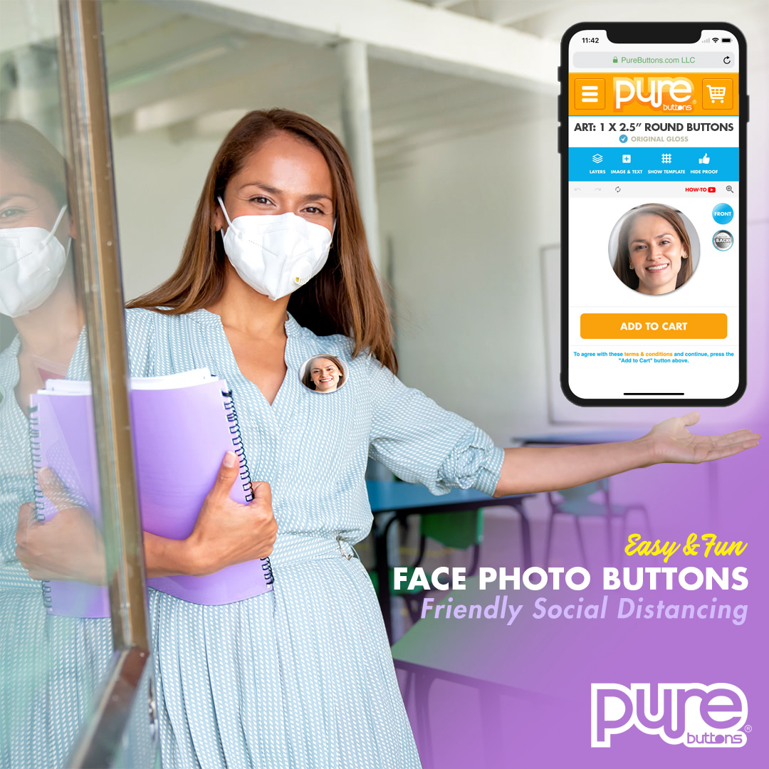 Create Face Photo Buttons and Social Distancing Buttons Online